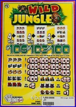 Pull Tab Ticket WILD JUNGLE -$1040.00 HUGE $$ PROFIT FREE Shipping