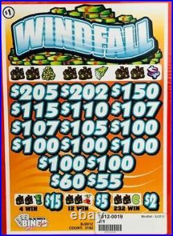Pull Tab Ticket WINDFALL -$908.00 HUGE $$ PROFIT FREE Shipping