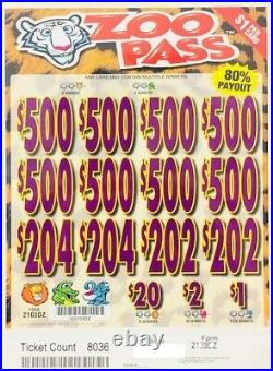 Pull Tab Ticket ZOO PASS -$1568.00 HUGE $$ PROFIT FREE Shipping