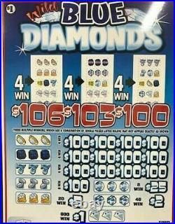 Pull Tab Tickets Wild Blue Diamonds Big- $1040 -profit- Free Shipping