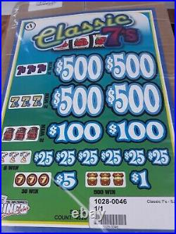 Pull Tabs CLASSIC 7'S Tickets $1.00 Ticket $1020 PROFIT FREE SHIPPING