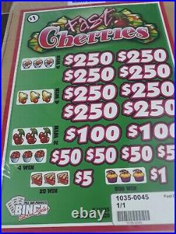Pull Tabs FAST CHERRIES Tickets $1.00 Ticket $1020 PROFIT FREE SHIPPING
