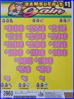 Pull Tabs Profit 985 3960 Gamb Game 1 Dollar tickets
