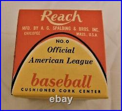 Reach 1960's Joe Cronin American League Baseball No. 0 Pull Tab Box NIB RARE