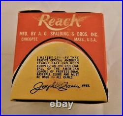 Reach 1960's Joe Cronin American League Baseball No. 0 Pull Tab Box NIB RARE (B)