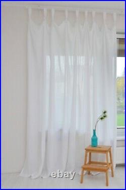 Rivau Solid Tab Curtain Panel Twist Linen Tab Top Panel White Draperies