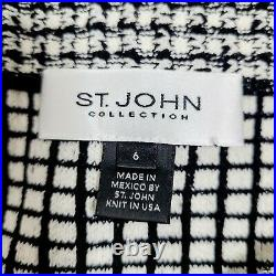 St. John Collection Skirt 6 Black White Wool Blend Stretch Knit Pull-On Pencil