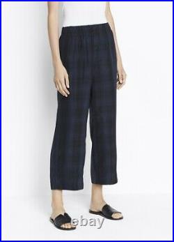 VINCE. Plaid Slouchy Pull-On Crop Pant Coastal Blue Sold Out M NWT $375