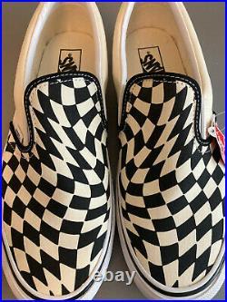 Vans Classic Slip-On T Warp Checker Twist White Black Size 10.5 Men's NWB