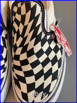 Vans Classic Slip-On T Warp Checker Twist White Black Size 11 Men's New With Box