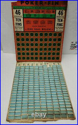 Vintage 25 Cent Poker Fin Pull Tab Punch Board Gambling New Old Stock Rare
