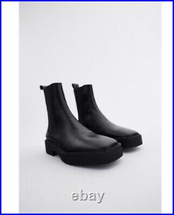 ZARA LOW HEEL SQUARED TOE LEATHER ANKLE BOOTS Size US 8 EU 39