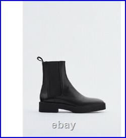 ZARA LOW HEEL SQUARED TOE LEATHER ANKLE BOOTS Size US 9 EU 40