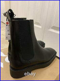 ZARA NEW WOMAN LOW HEEL LEATHER ANKLE BOOTS SQUARED TOE Size US 8 EU 39