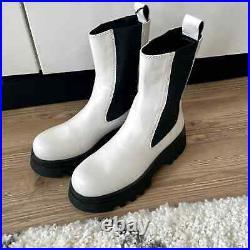 Zara New $169 Lug Sole Treaded Leather Boots White Us 8 Eu 39 1123/710