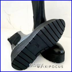 Zara New Flat Platform Leather Ankle Boots Lug Sole Black 10 (eu 41) 2114/610